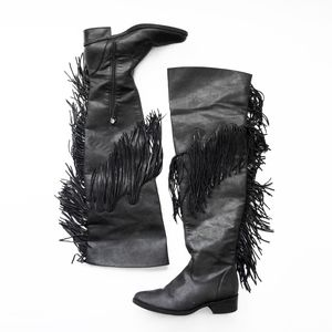 SCHUTZ tall fringe over knee black leather boots